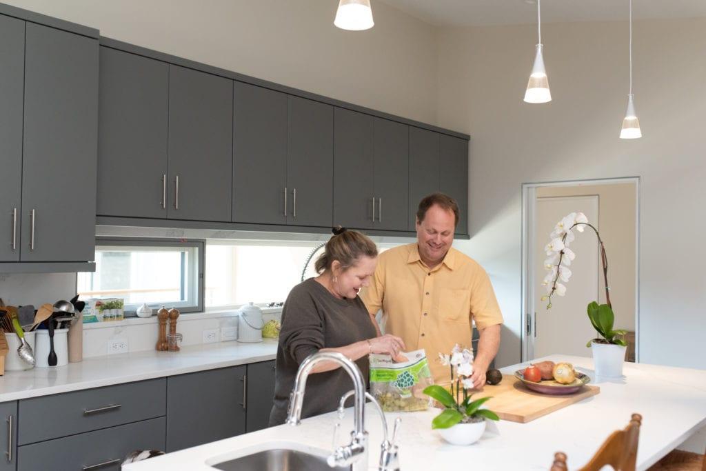 modern kitchen with white tile
