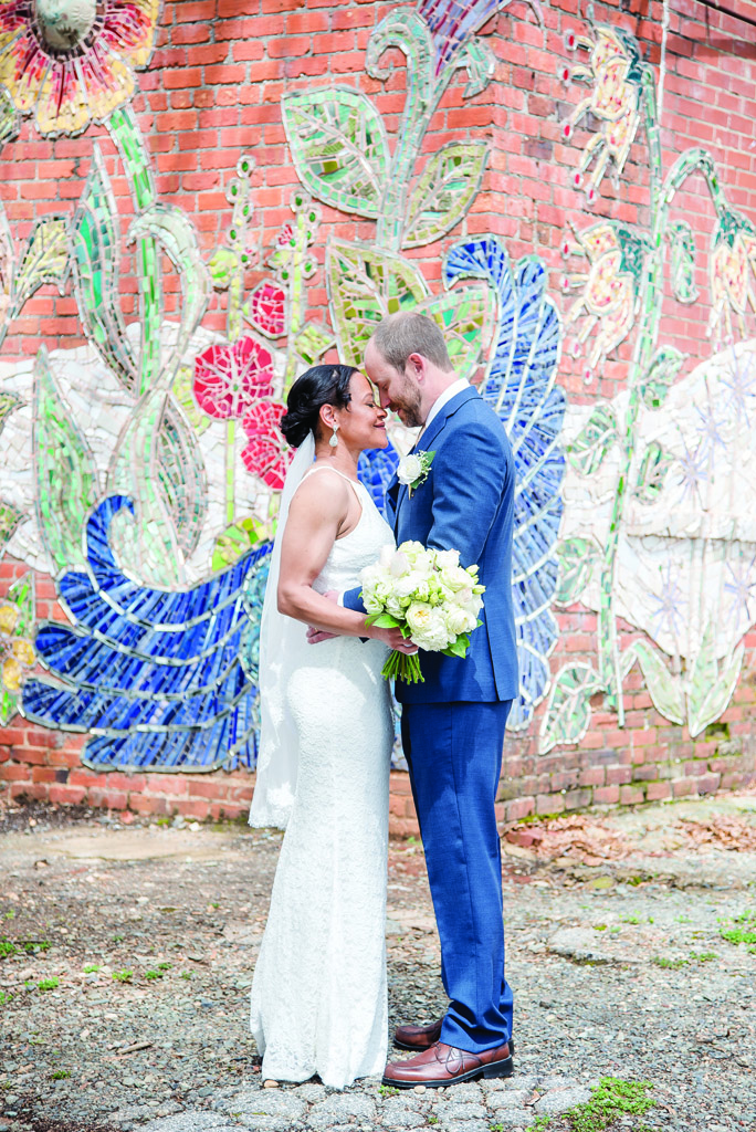 Bride and Groom Mural Intimate Wedding at the Historic Chatham County Courthouse Gunter