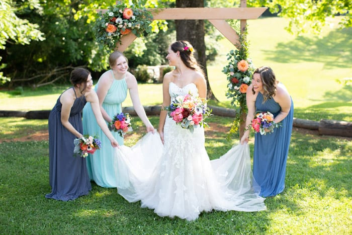 Bridesmaids and Bride Lauren and Logan Spring Wedding at Forest Halls at Chatham Mills Heba Salama