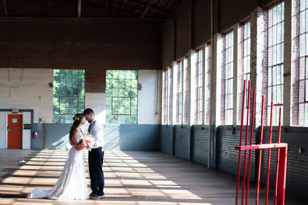 Lauren and Logan Wedding Portrait Inside Forest Hall at Chatham Mills Heba Salama